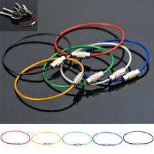 10Pcs Stainless Steel Keychain Rope Wire Cable Loop Screw Lock Gadget Pkjt