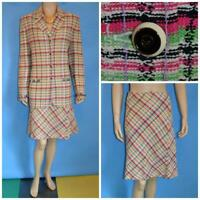 ST. JOHN COLLECTION TWEED PINK GREEN JACKET & SKIRT XL L 16 14 2PC SUIT FRINGES