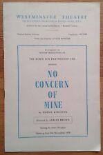 No Concern Of Mine programme Westminster Theatre 1958 John Fraser Wendy Williams