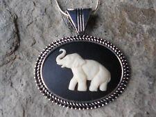 ELEPHANT CAMEO NECKLACE - CREAM ON BLACK - QUALITY - AFRICA