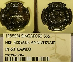 Singapore 1988 Fire Brigade NGC PF-67 Cameo 100th Anniv~POP 1~Rare~Free Ship
