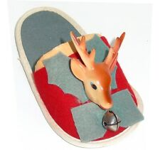 Vintage Reindeer Christmas Decoration Figurine on Felt Slipper Made in Japan