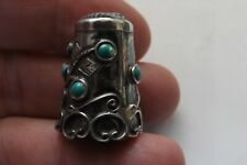 VINTAGE MEXICAN STERLING SILVER THIMBLE WITH TURQUOISE FLOWERS 2.5CMS (1623)