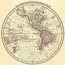 1825 Map New World or Western Hemisphere Vintage History Wall Poster Home Office