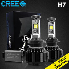 Cree LED Headlight Kit H7 60W 6000K Cool White 7200LM Bulbs HID One Pair New