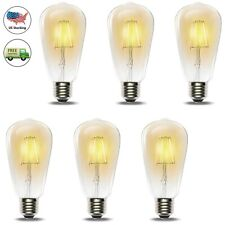 6pc ST64 Vintage Retro Dimmable Edison LED Bulb E26 60W Warm White Filament Lamp