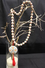 """Vintage Chinese HAND PAINTED Porcelain Necklace on Knotted Cord w/Pendant, 27"""""""