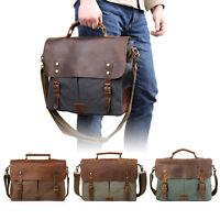 "Men's Leather Canvas Messenger Shoulder Bag Satchel 14"" Laptop Crossbody Bags"