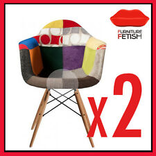 TWO DAW Eames Chair Replica - Bright Patchwork Chair Timber  **SPECIAL DEAL**