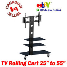 "TV mobile rolling cart stand 25"" - 55"" LED 3D LCD PLASMA 32 37 40 42 43 47 50 52"