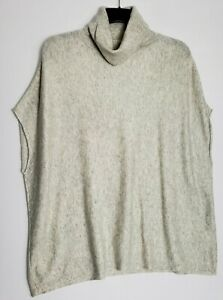 THE WHITE COMPANY PONCHO STYLE JUMPER UK 12 GREY TURTLE NECK WOOL & CASHMERE 388