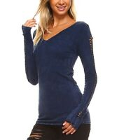 Midnight Blue T-Shirt Size 10 Ladies Womens V-Neck Cotton Top With Long Sleeves