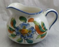 Vintage Large Ceramic Pitcher Italy Hand Painted Flowers Pottery