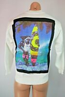 VTG 80s MAUI AND SONS SHARKS SWEATSHIRT Mens Small Surfing USA White Neon NEW