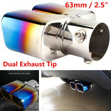 Stainless Steel Roasted Blue Dual Car Exhaust Tip Tail Throat Pipe Muffler 63mm