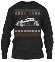 Custom Hot Rod Drive Ugly Christmas Sweater Gildan Long Sleeve Tee T-Shirt