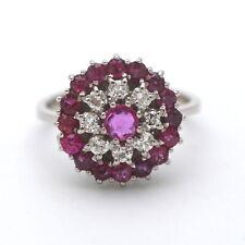 Brillant Rubin Ring 750 Gold 18 Kt Weißgold Diamant 0,32 Ct Halo Wert 1490,-
