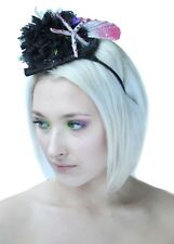 Black Mermaid Pom Pom Hat Headband Bridal Headdress Fetish Burlesque Goth