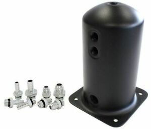 Aeroflow Surge Tank 2.5L Anodised Black 3X3/8 1X1/2 Or 3X -6AN 1X -8An