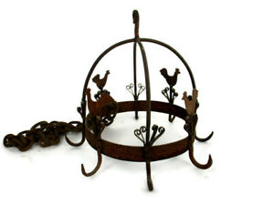 antique Hanging Butcher Rack Cast Wrought Iron 8 hooks French roosters Rustic