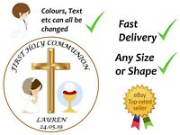 First Holy Communion cake topper edible icing or Wafer personalised