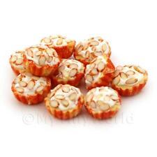 4x Miniature picados Almendra Cupcakes con un tazas de papel blanco y naranja