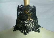 Black Wide Lace Choker Victorian Necklace Medieval Steampunk Gothic Choker