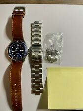 Orient Mako II Blue Sapphire Double Dome AR with leather strap and SS bracelet