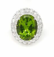 18.76 ct Large Oval Peridot and Diamond Halo Ring in Platinum--HM1821BN
