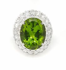 Large Oval Peridot and Diamond Halo Ring 18.50 carats in Platinum--HM1821