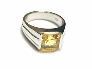 925 Sterling Silver Citrine Ring 7 mm Square Citrine Ring Citrine Men Ring