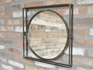 Industrial Square Metal Frame Wall Mounted Home Bathroom Fireplace Mirror