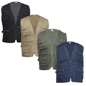 Men's Short Sleeve Multi Pocket Fishing Hunting Safari Utility Gilet Vest Coat