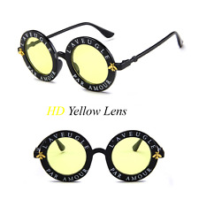 "NEW  ""L'Aveugle Par Amour"" Sunglasses Sun Glasses Yellow Lens USA Round Retro UV"