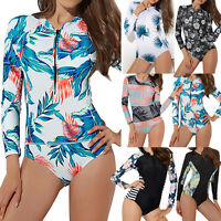 Women's Rashguard One Piece Long Sleeve Zipper UV Protection Surfing Swimsuit