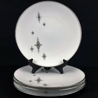 "Set of 4 VTG Salad Plates 8 1/4"" Noritake China STELLA 6602 MCM Starbursts Japan"