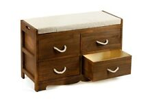 Revesby Wooden 4 Drawer Storage Unit Bench Cushion Seat Home Decor Furniture