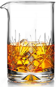 Crystal Cocktail Mixing Glass - Thick Weighted Bottom - 18oz 550ml - Premium - -