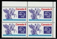 Canada #648ii 8¢ UPU Centenary UR Corner Block Ghost Print MNH