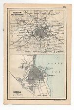 1909 Map Of Moscow & Odessa Antique john bartholomew