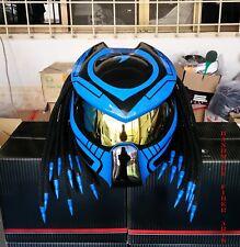 Blue Custom Predator Motorcycle Helmet