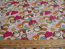 COTTON Fabric Babi Jack by  Bobby Jack Monkey SMILE on PINK BTY
