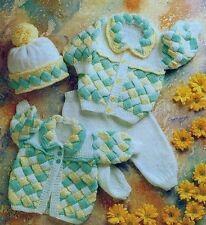 Baby Knitting Pattern 4 Piece Pram Set to make Jacket, Coat, Hat & Leggings (DK)