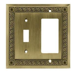64341 Antique Bronze Greek Key Single Switch GFCI Cover Plate