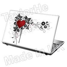 Laptop piel cubierta Notebook Adhesivo Blanco Y Rojo Corazón