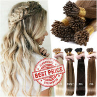 THICK I-Tip Hair Micro Ring 100% Remy Human Hair Extensions Stick Beads Straight