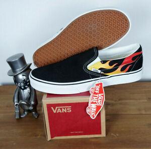 Vans Skate Schuhe Shoes Slip On Flame Black Black True White Canvas 10,5/44