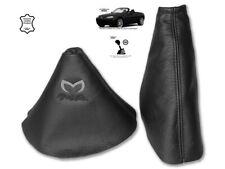 Gear & Handbrake Gaiter For Mazda MX5 MK3 2 Panels Leather Logo Black
