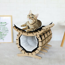 New listing Kitty Cat Pet 2-Layer Bed Wooden Hammock Castle Home Furniture W/Removable Cover