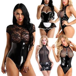 Women Ladies PVC PU Leather Lingerie Babydoll G-string Nightwear Thong Underwear